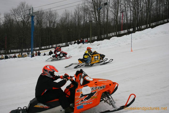 Race up the Face of Schuss Mountain Snowmobile Drag Race