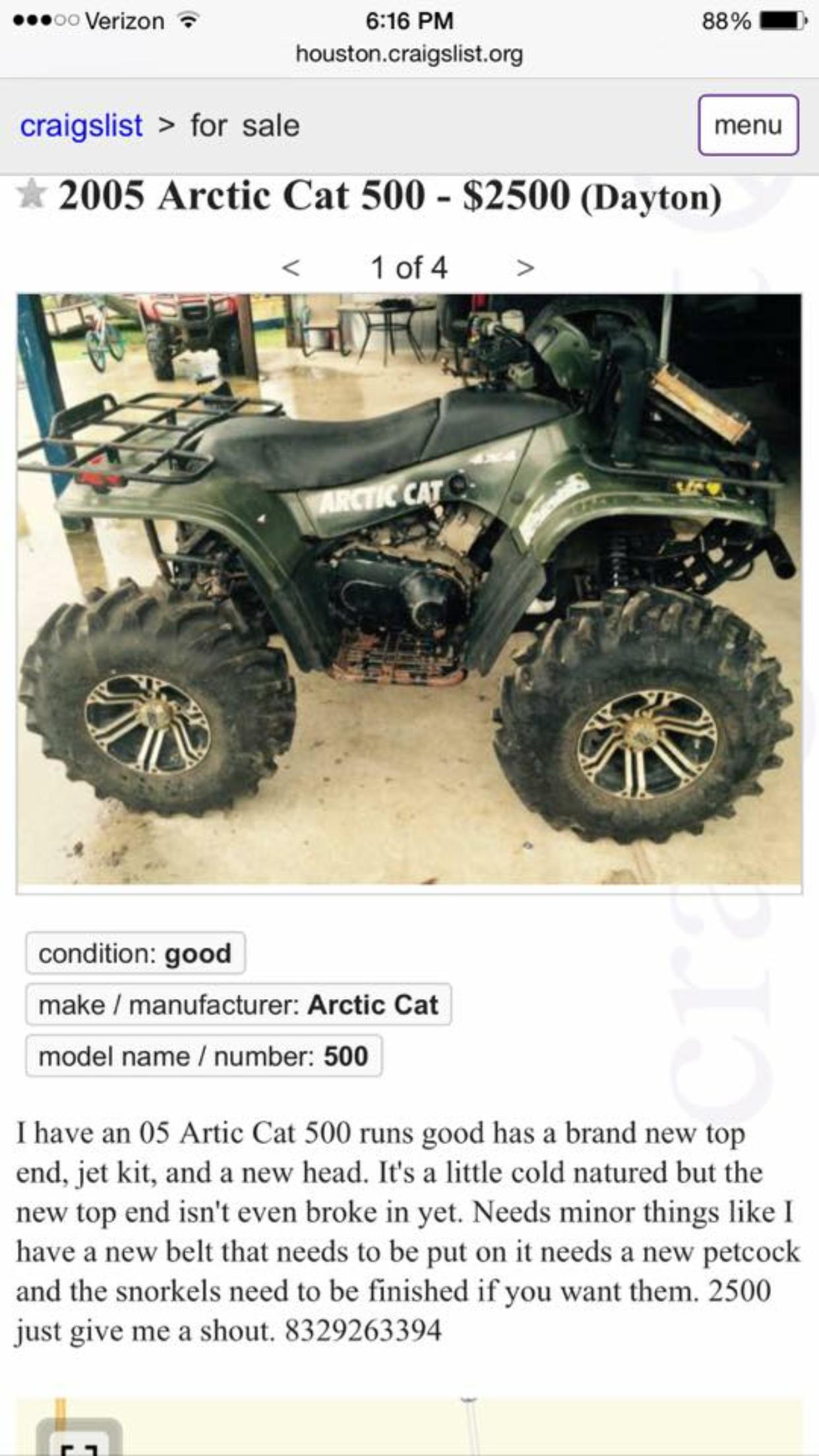 Arctic Cat Prowler For Sale Craigslist