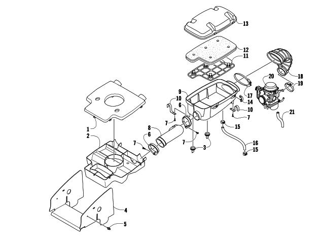 07 400 4x4 intake airbox air diverter filter